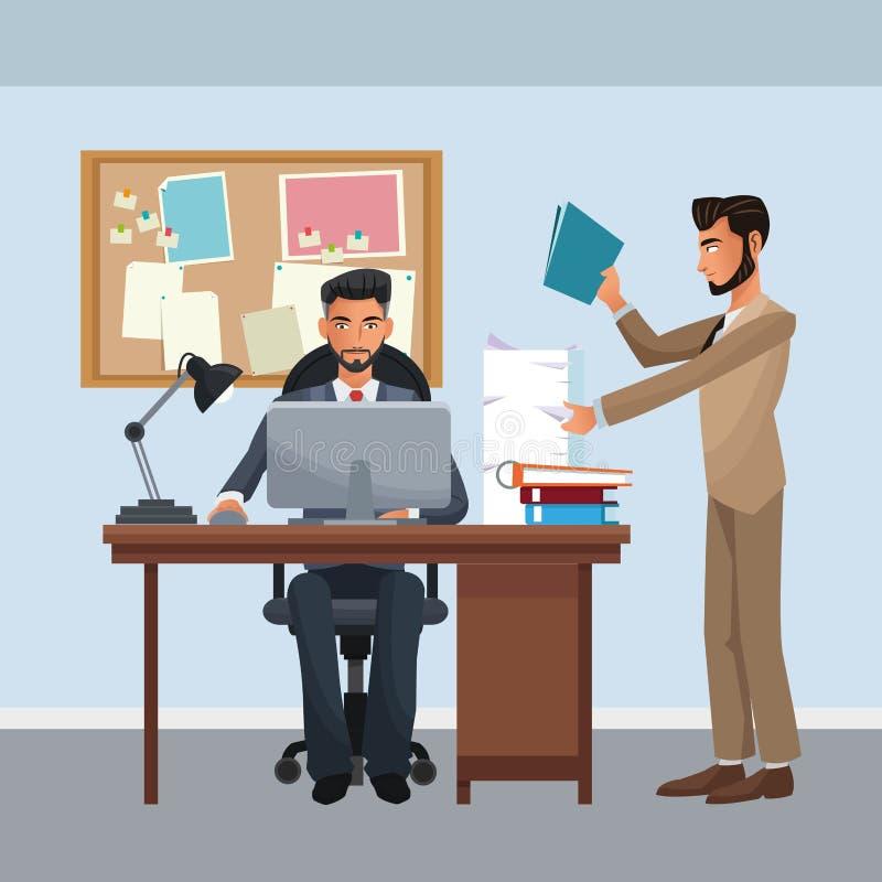 Biznesowi charaktery w biurowej scenie ilustracja wektor