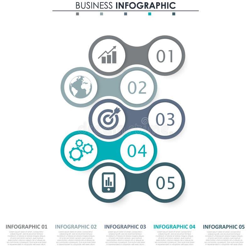 Biznesowi dane, mapa Abstrakcjonistyczni elementy wykres, diagram z 5 krokami, strategia, opcje, części lub procesy, wektor ilustracji