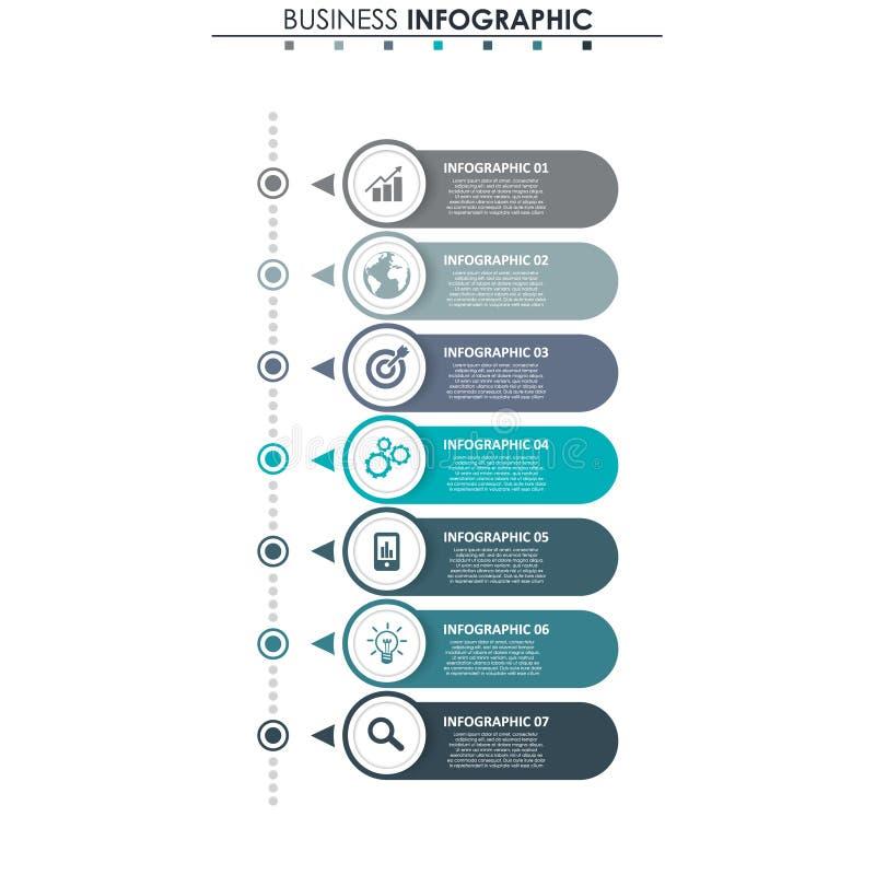 Biznesowi dane, mapa Abstrakcjonistyczni elementy wykres, diagram z 7 krokami, strategia, opcje, części lub procesy, wektor royalty ilustracja