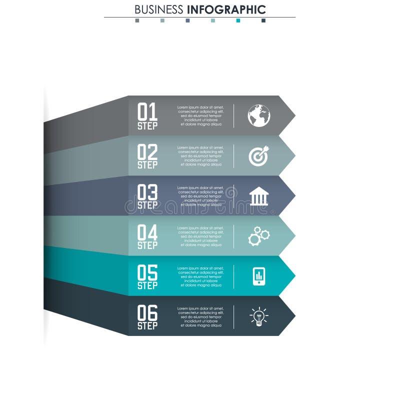 Biznesowi dane, mapa Abstrakcjonistyczni elementy wykres, diagram z 6 krokami, strategia, opcje, części lub procesy, wektor ilustracji
