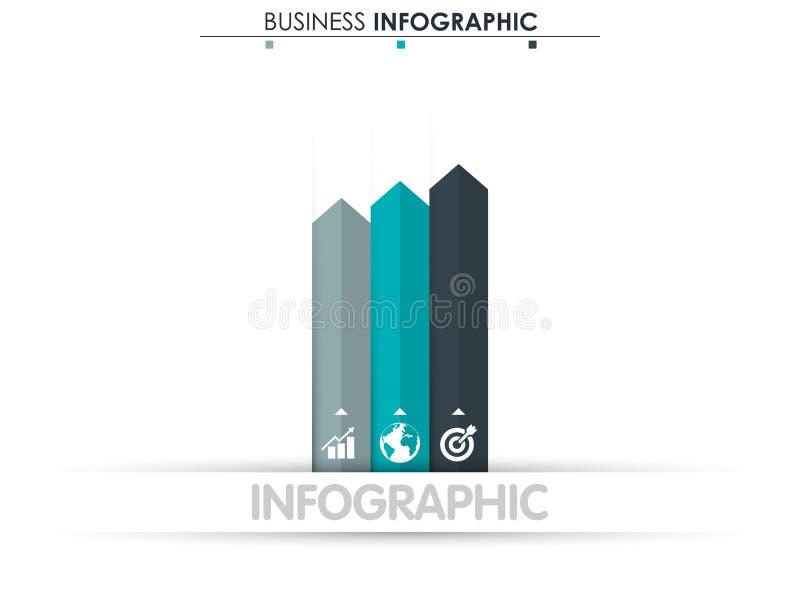 Biznesowi dane Proces mapa Abstrakcjonistyczni elementy wykres, diagram z 3 krokami, opcje, części lub procesy, wektor ilustracja wektor