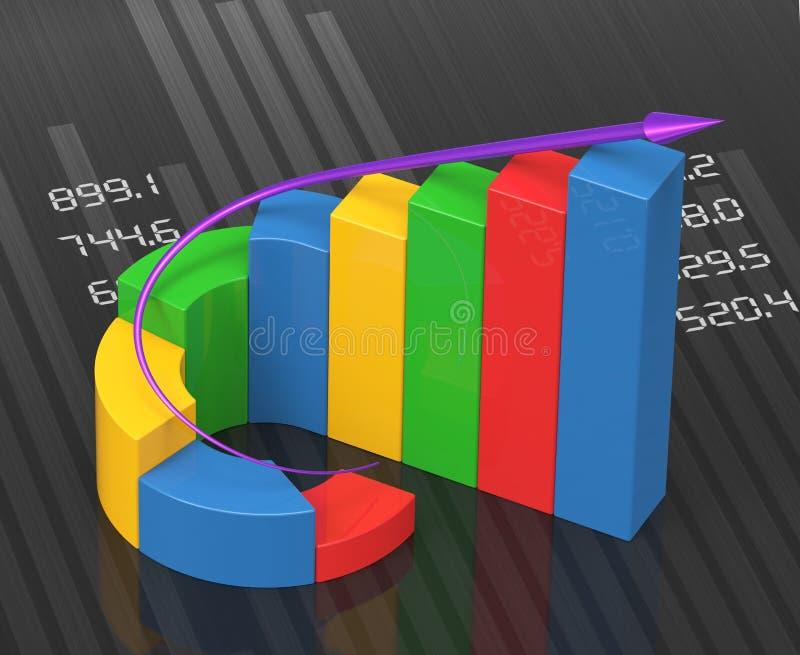 Biznesowi diagramy na pieniężnym raporcie ilustracja wektor
