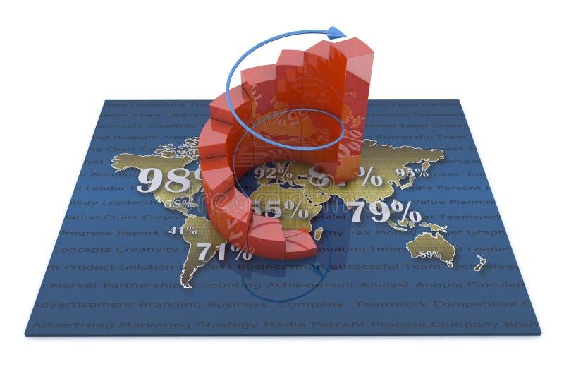 Biznesowi diagramy na pieniężnym raporcie ilustracji