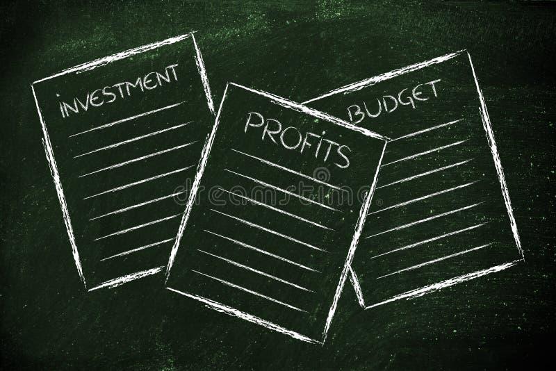 Biznesowi dokumenty: inwestycja, zyski, budżet ilustracja wektor