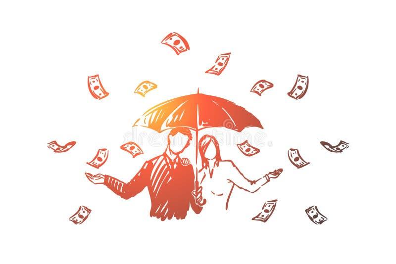 Biznesowi finansi?ci z parasolem pod got ilustracja wektor