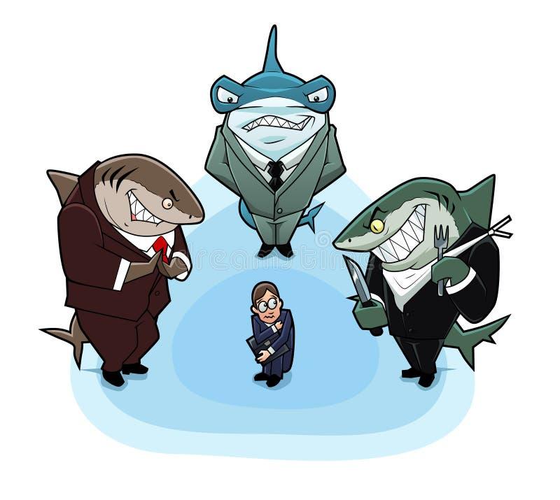 biznesowi głodni rekiny ilustracja wektor