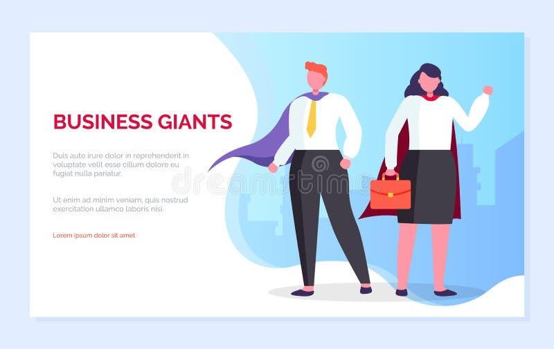 Biznesowi giganty ludzie m??czyzny i kobiety strony internetowej strona ilustracja wektor