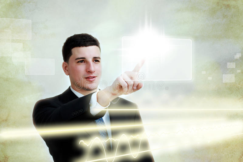 biznesowi guzika mężczyzna parawanowi target2590_0_ dotyka potomstwa obraz stock