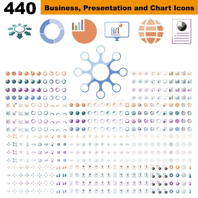 Biznesowi infographic, mapa, prezentacja, raport i unaocznienie elementy z kolorem, royalty ilustracja