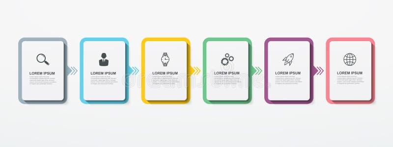 Biznesowi infographic prostokątni elementy z 6 opcja krokami Nowożytny infographic szablonu projekt royalty ilustracja