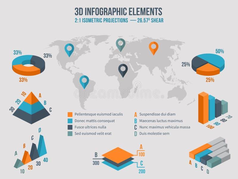 Biznesowi infographics elementy Wektoru 3d mapy royalty ilustracja