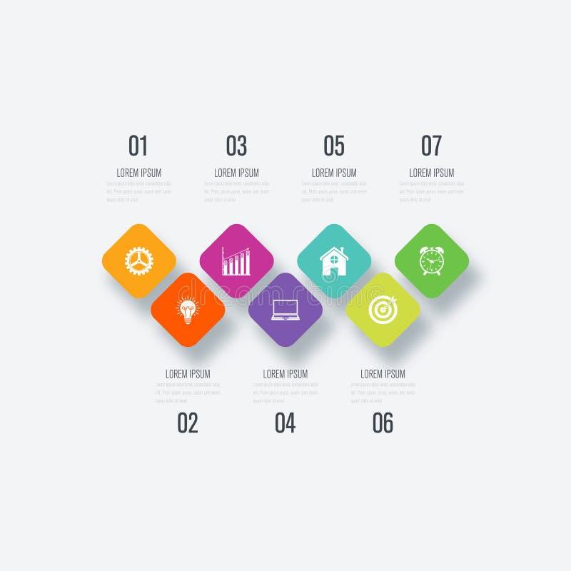 Download Biznesowi Infographics Szablonu 7 Kroki Z Kwadratem Ilustracja Wektor - Ilustracja złożonej z info, dane: 106921598