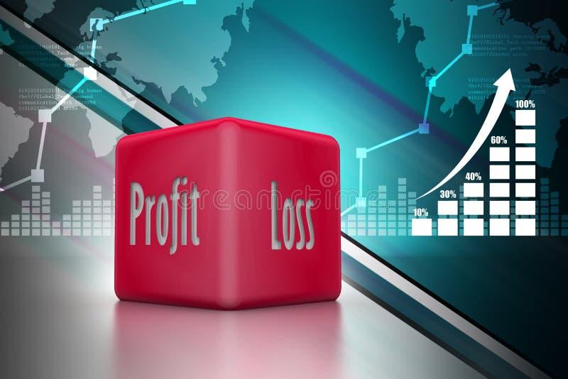 Biznesowi kostka do gry pokazuje zysk i stratę royalty ilustracja