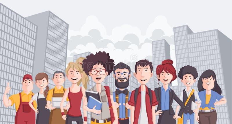 Biznesowi kreskówek młodzi ludzie w mieście ilustracja wektor