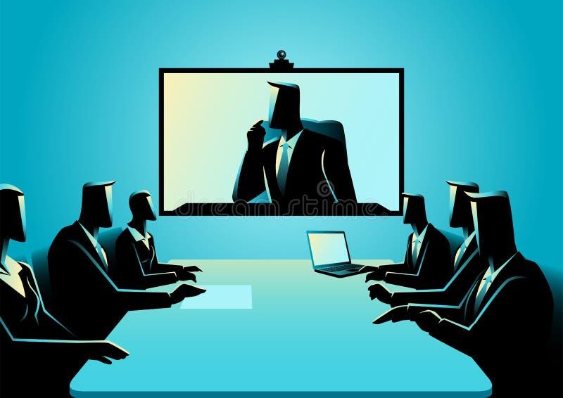 Biznesowi mężczyzna i kobiety ma telekonferencja spotkania ilustracja wektor