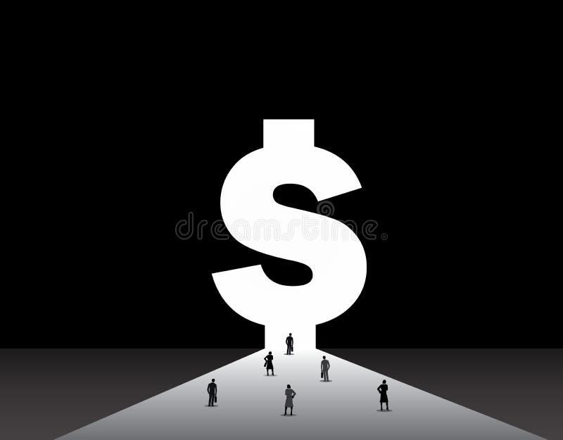 Biznesowi mężczyzna i kobiety stoi przód duży pieniądze dolara drzwi ilustracji
