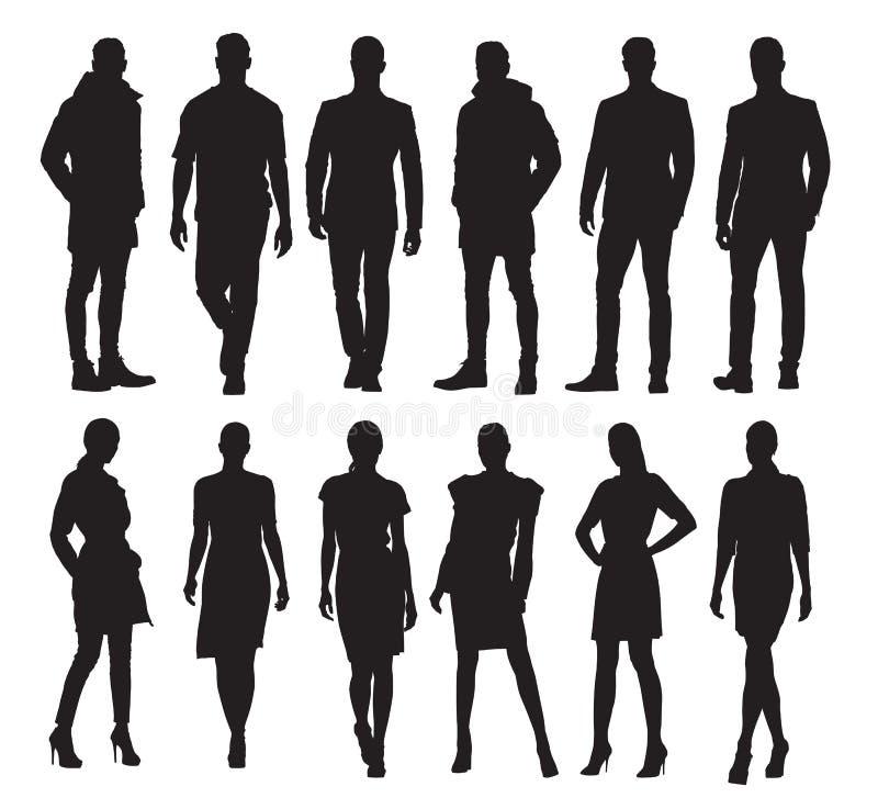 Biznesowi mężczyzna i kobiety w różnych pozach, set sylwetki ilustracja wektor