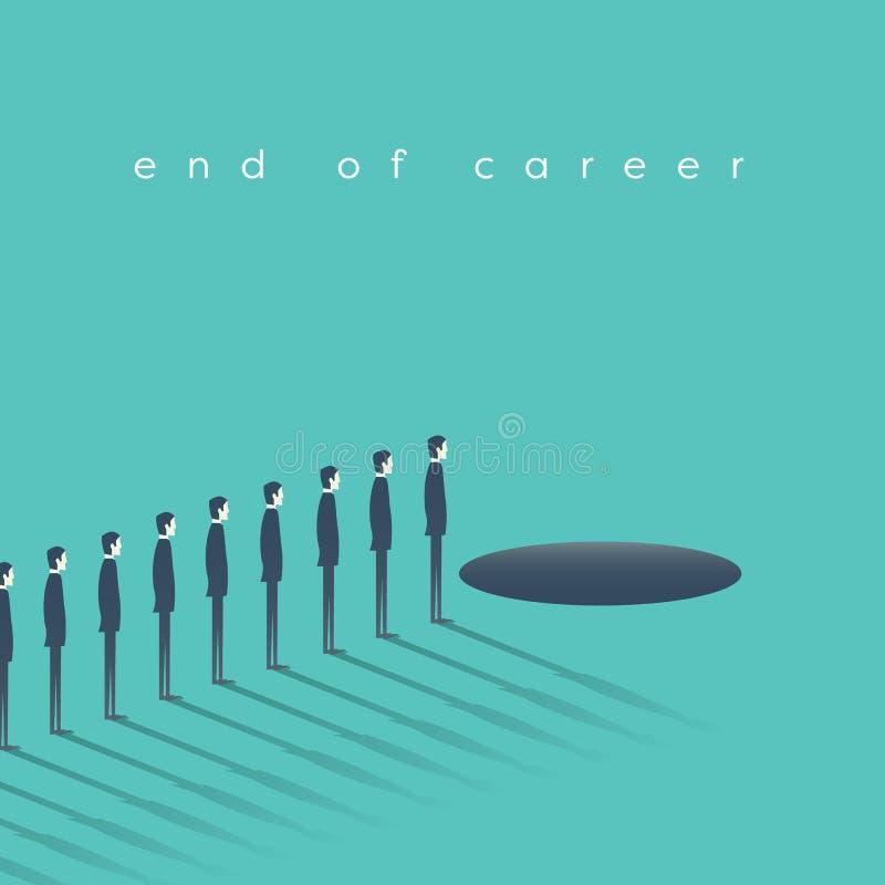 Biznesowi mężczyzna stoi przed dziurą jako symbol kariery końcówka, emerytura ilustracja wektor