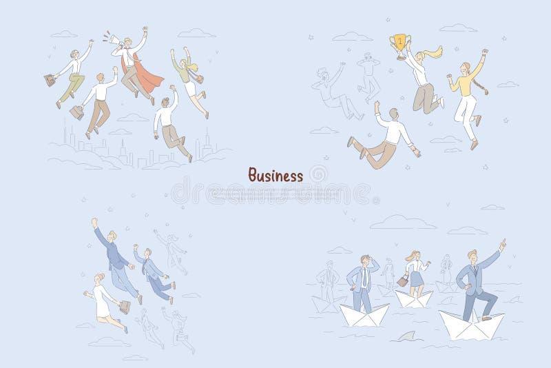 Biznesowi osiągnięcia, dosięga grają główna rolę metaforę, ambitni ludzie dostaje promocję, kariera celów sztandar royalty ilustracja