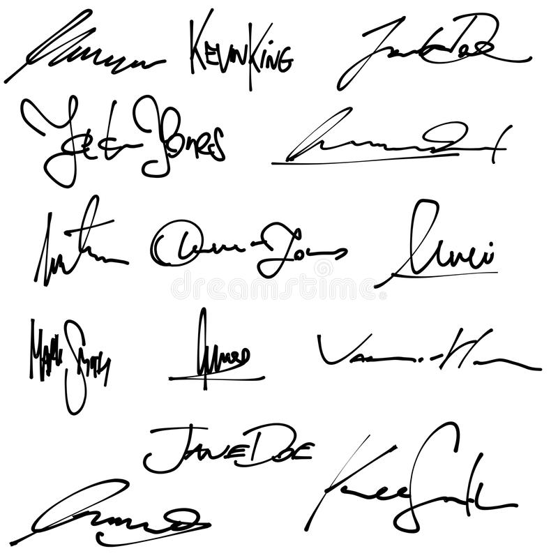 Biznesowi podpisy ilustracja wektor