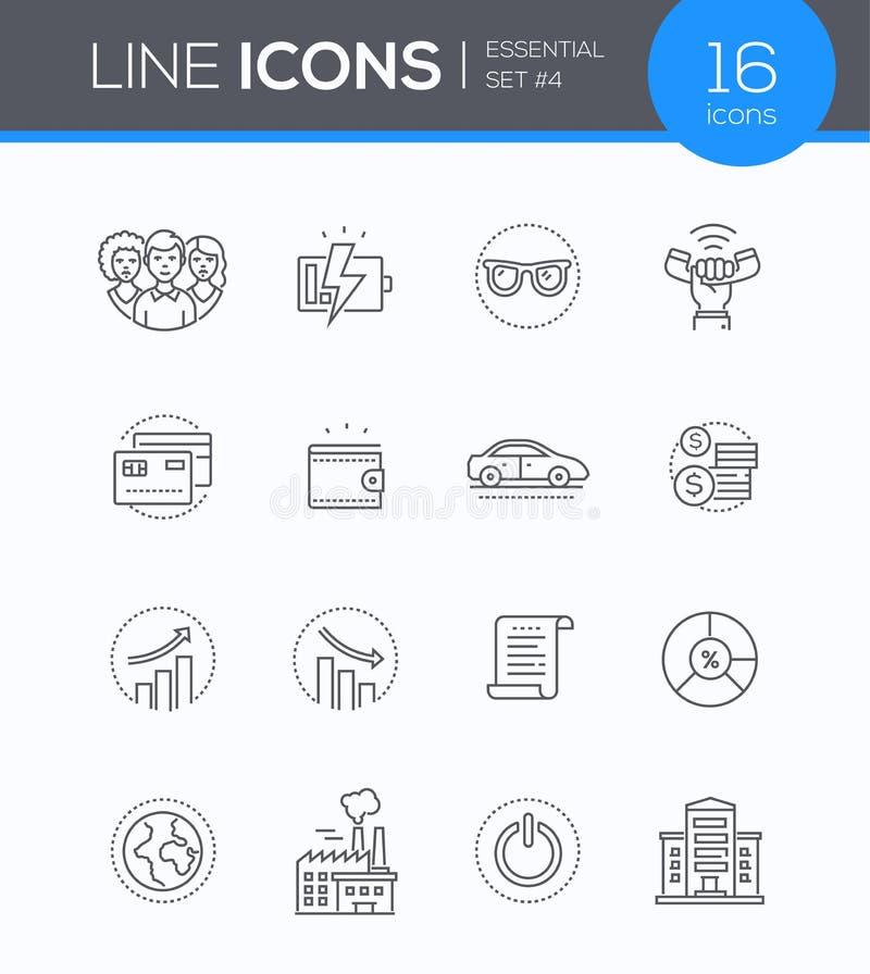 Biznesowi pojęcia - nowożytne kreskowe projekta stylu ikony ustawiać ilustracji