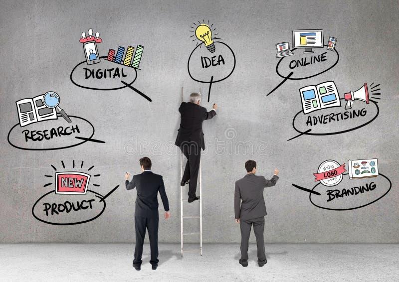 Biznesowi profesjonaliści rysuje biznesowego planowania pojęcia przeciw popielatemu tłu obraz stock