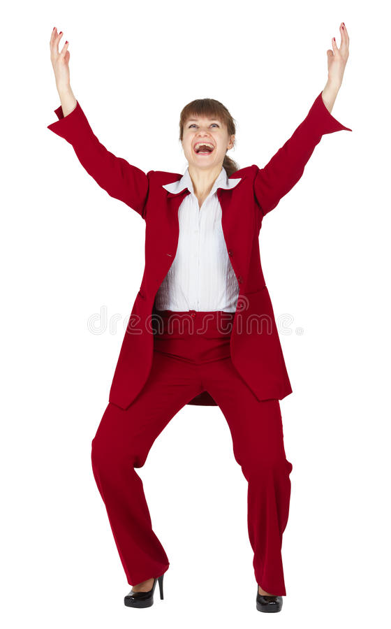 biznesowi radośni czerwoni kostiumu kobiety potomstwa obrazy royalty free