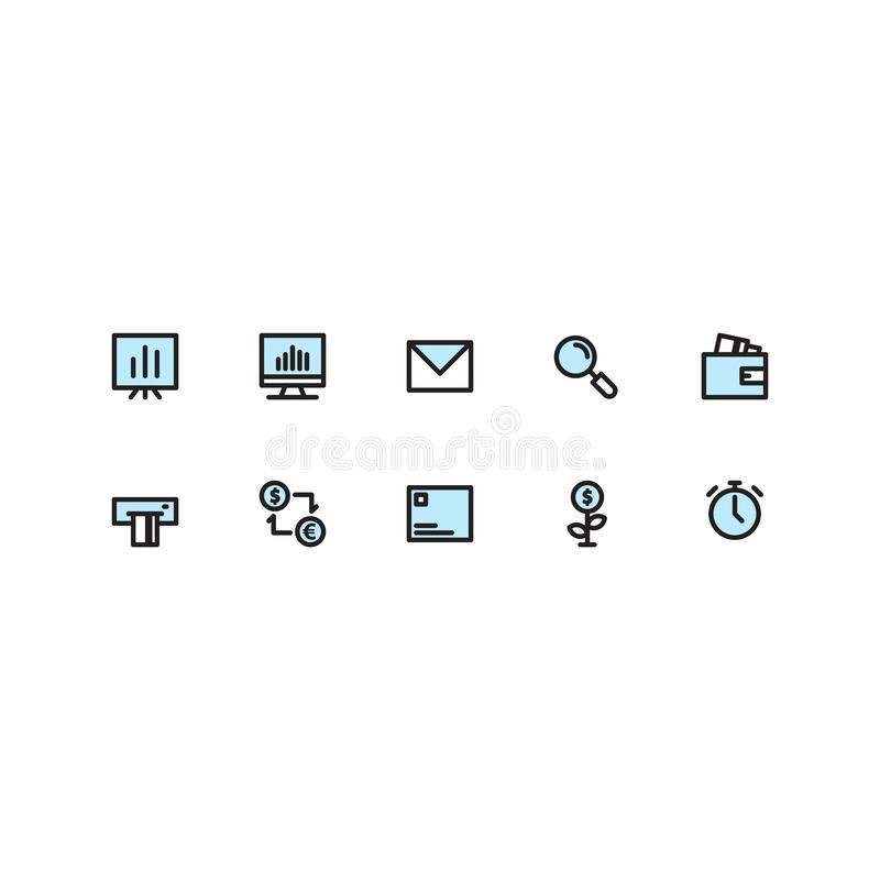Biznesowi sety Wypełniająca ikony linia ilustracja wektor
