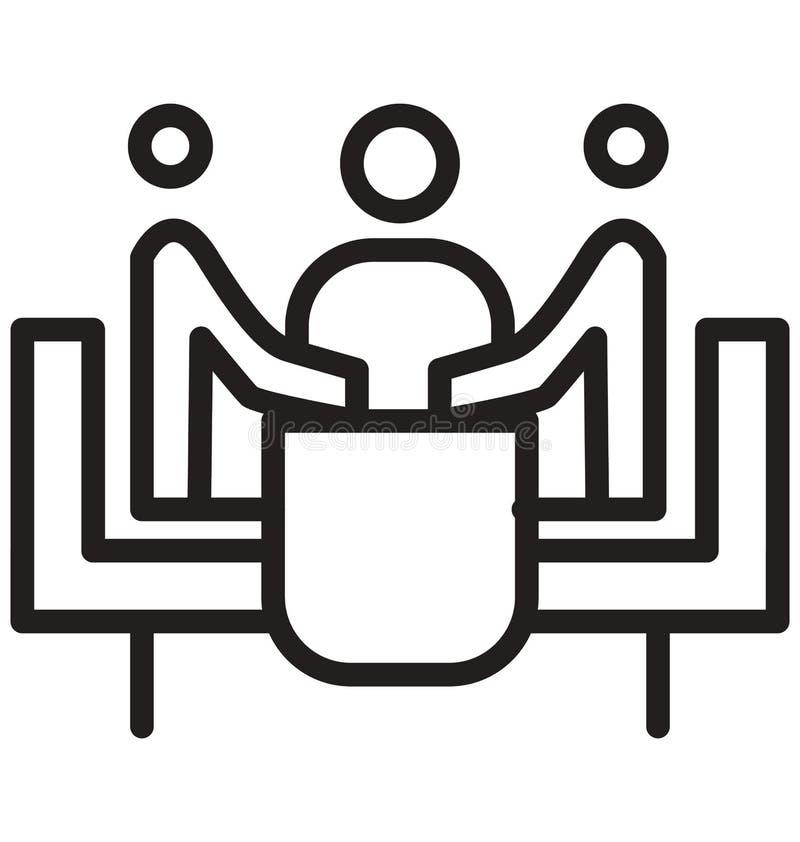 Biznesowi spotkania, Trenuje linia odizolowywającą ikonę mogą łatwo redagować i modyfikujący ilustracja wektor