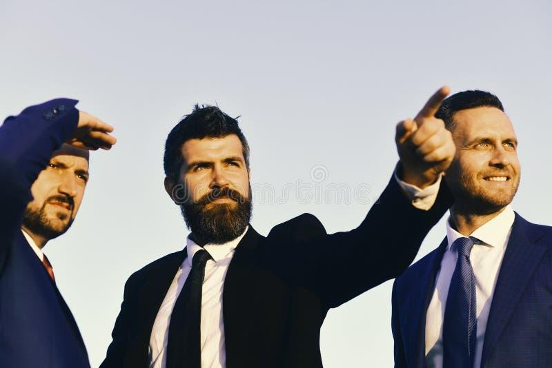 Biznesowi succsses Mężczyzna z brodą naprzód i poważnymi twarz punktami zdjęcie stock