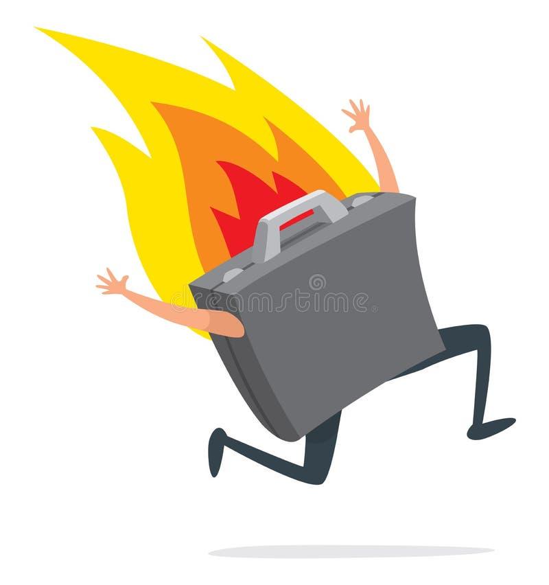 Biznesowi suitcas biega na ogieniu ilustracji