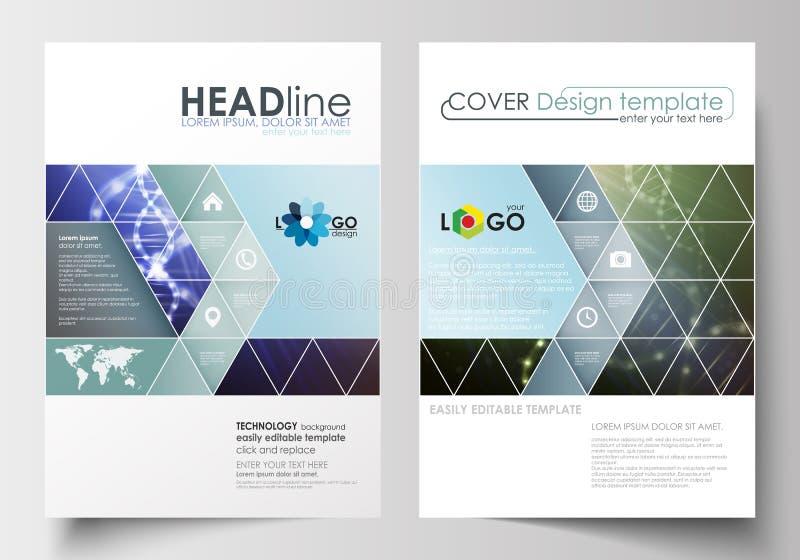 Biznesowi szablony dla broszurki, magazynu, ulotki, broszury lub raportu, Okładkowy projekta szablon, płaski układ w A4 rozmiarze ilustracja wektor
