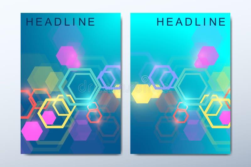 Biznesowi szablony dla broszurki, pokrywa, ulotka, sprawozdanie roczne, ulotka Minimalistic skład z heksagonalnym royalty ilustracja