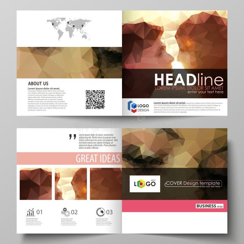 Biznesowi szablony dla kwadratowego projekta bi składają broszurkę, ulotka, broszura Ulotki pokrywa, abstrakcjonistyczny wektorow ilustracji
