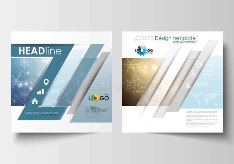 Biznesowi szablony dla kwadratowej projekt broszurki, magazynu, ulotki, broszury lub raportu, Ulotki pokrywa, płaski układu wekto royalty ilustracja
