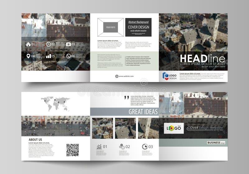 Biznesowi szablony dla trifold kwadratowych projekt broszurek Ulotki pokrywa, abstrakcjonistyczny płaski układ, łatwy editable we ilustracja wektor