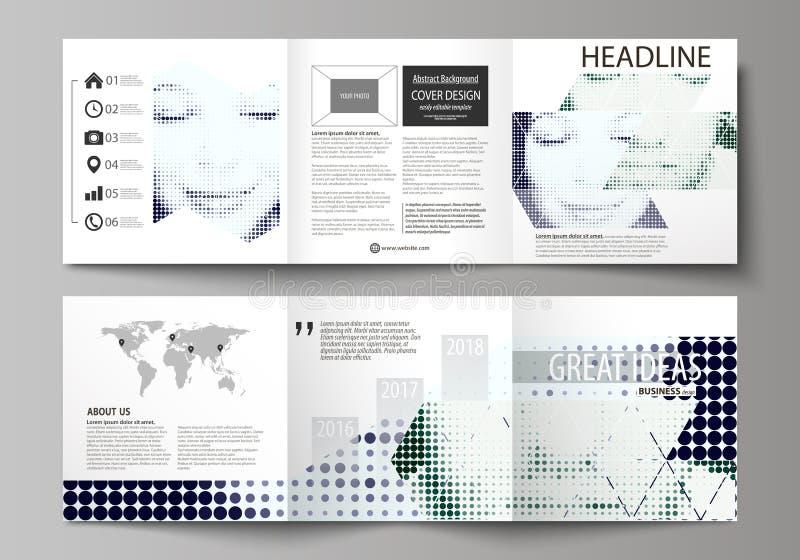 Biznesowi szablony dla trifold kwadratowych projekt broszurek Ulotki pokrywa, wektorowy układ Halftone kropkowany tło, retro ilustracja wektor