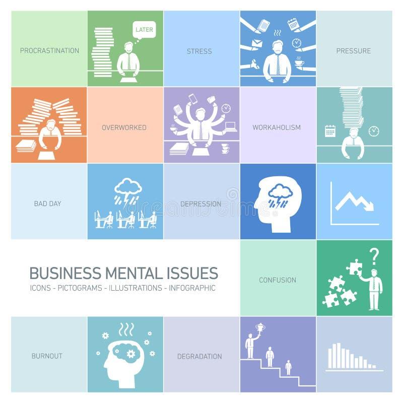 Biznesowi umysłowi zagadnienia ilustracji