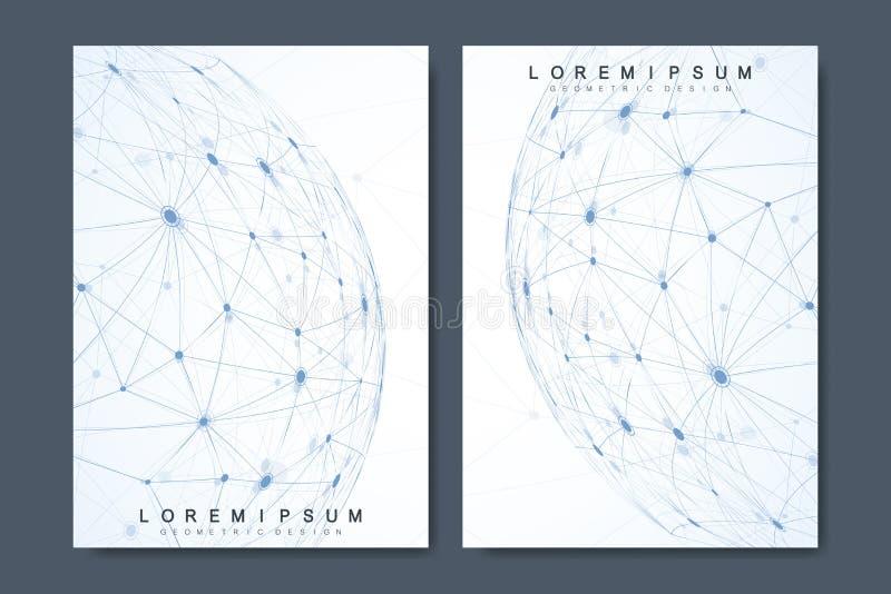 Biznesowi wektorowi szablony dla broszurki, pokrywa, ulotka, sprawozdanie roczne, ulotka Minimalny abstrakcjonistyczny skład z mo ilustracji