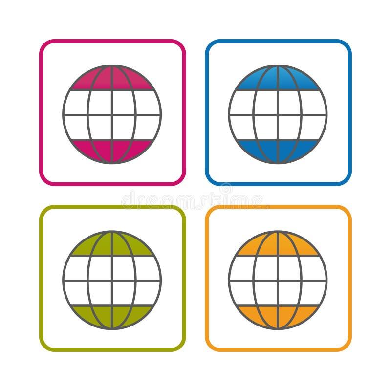 Biznesowy świat Editable uderzenie Odizolowywający Na Białym tle - kontur Projektująca ikona - Wektorowa ilustracja - ilustracji