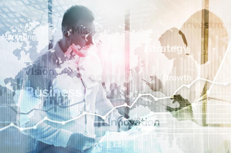 Biznesowy abstrakcjonistyczny tła dwoistego ujawnienia wykres, mapa i diagram, Światowa mapa i Globalny biznes i pieniężny handel ilustracja wektor