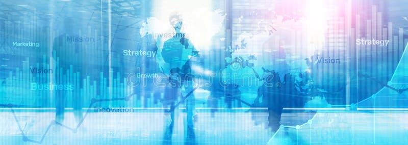 Biznesowy abstrakcjonistyczny tła dwoistego ujawnienia wykres, mapa i diagram, Światowa mapa i Globalny biznes i pieniężny handel royalty ilustracja