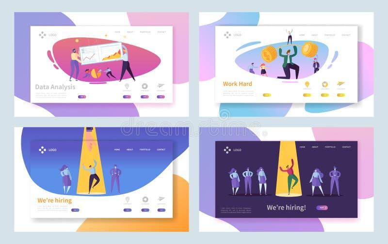 Biznesowy Akcydensowy Rekrutacyjny ciężkiej pracy lądowania strony set Rekrutacyjny Wyborowy wywiad Ciężkiej inwestycji postępu c ilustracja wektor