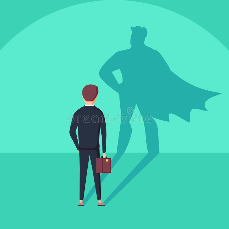 Biznesowy ambici i sukcesu pojęcie Biznesmen z bohatera cieniem jako symbol władza, przywódctwo royalty ilustracja
