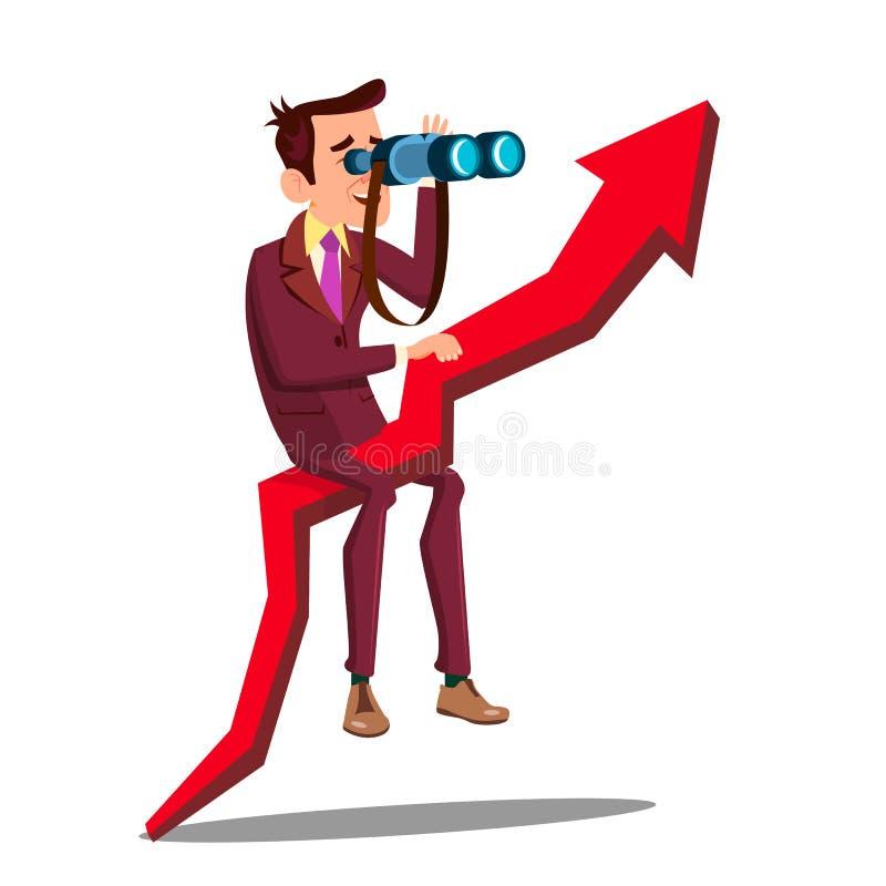 Biznesowy analityk, biznesmen, sprzedawcy wektoru postać z kreskówki ilustracja wektor