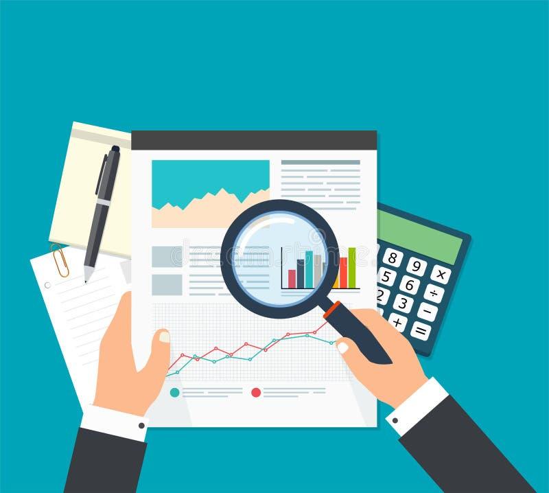 Biznesowy analityk, pieniężnych dane analiza Biznesmen z magn royalty ilustracja