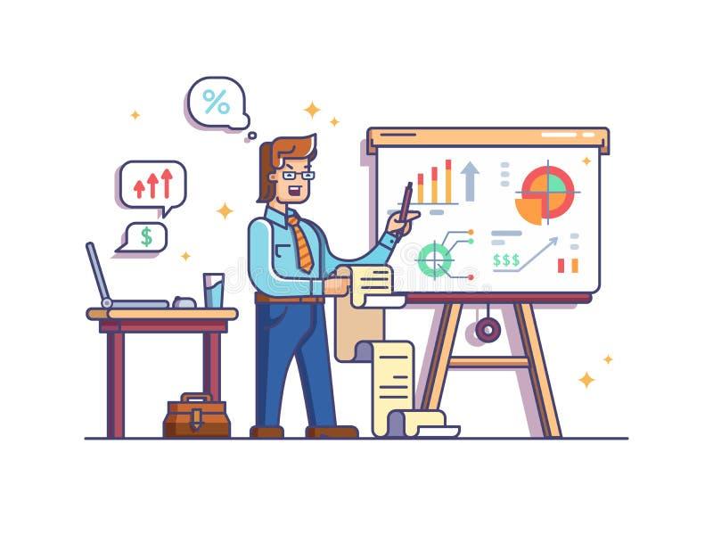 Biznesowy analityk pokazuje mapy i wykresy ilustracji