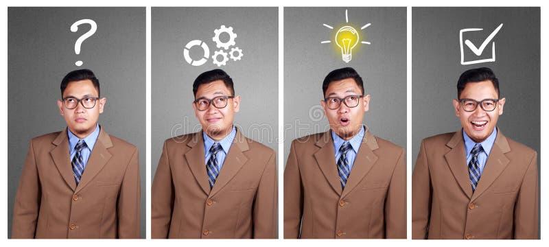 Biznesowy analizuje pojęcie Znalezienia rozwiązanie Solvce problem obraz royalty free