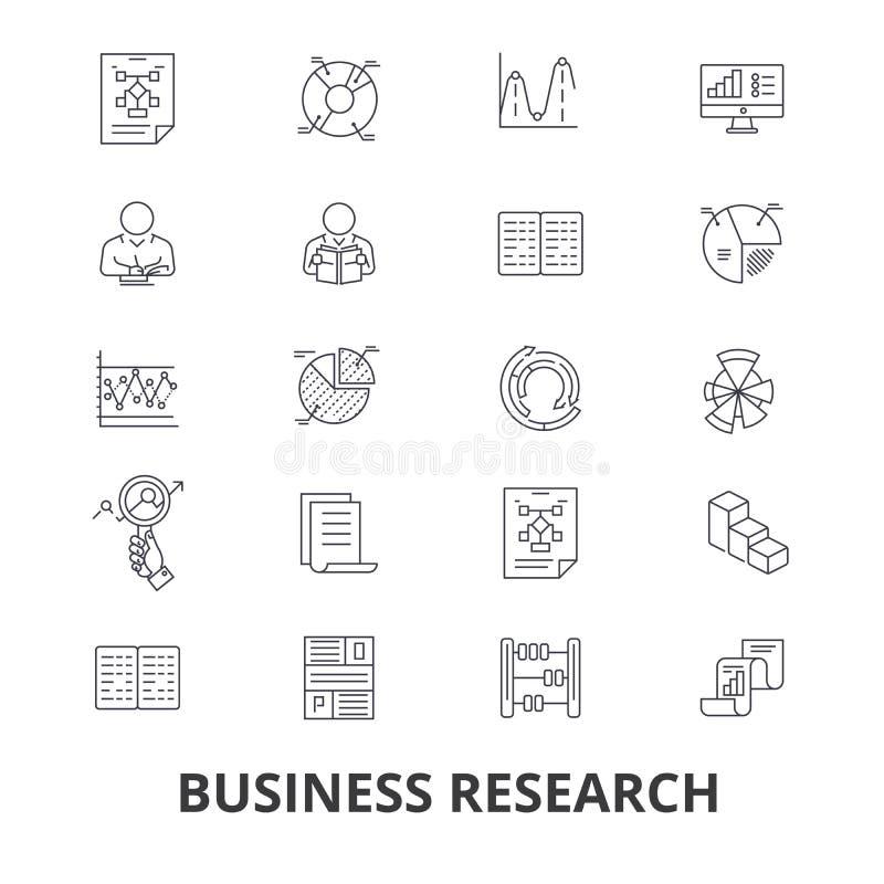 Biznesowy badanie, strategia, marketing, analityka, dane, monitorowanie, studiowanie kreskowe ikony Editable uderzenia Płaski pro ilustracji