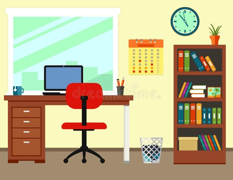 Biznesowy biuro lub domowy miejsce pracy ilustracja wektor